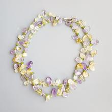 Lii ji pedra natural genuíno lavanda ametista citrino peridot toggle fecho 2 linhas colar 47cm jóias artesanais para presente feminino