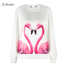 Echoine 2017 New Flamingo Print Women Baseball Sweater Lace Up Back Long Sleeve Breathable Pullover Sports Sweatshirts Hoodies