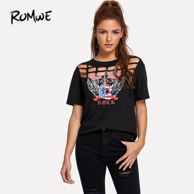 8412ab4f7486 ROMWE Geo Cut Out Yoke Graphic Tees Women 2019 Rock Black Letter Print T- shirt
