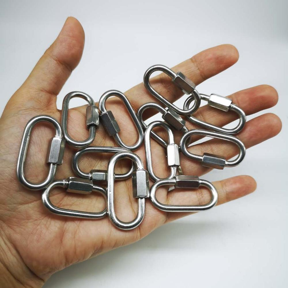 20pcs 3.5mm 304 Stainless Steel M3.5 Chain Quick Link Oval Thread Carabiner Chain Connector With Screws