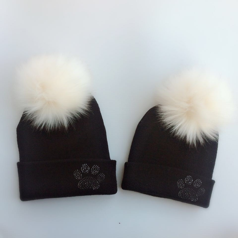 parent-child Baby Toddler Kids Girls Boys Warm Hat Winter Beanie Knitted Cap New diamond embroidery paw with faux fur pom pom flower decorated kids headband with pom pom