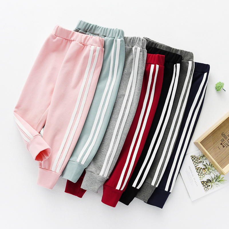 Fashion Sports Girls Boys Pants White Striped Candy Color School Cotton Spring Autumn Pant Leggings Trouser Children Kid Leggins
