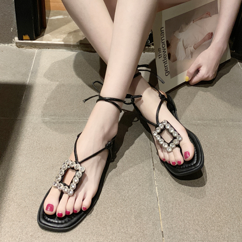 Crystal Gladiator Women Sandals Summer Rome Flats Women Shoes Bohemian Trendy Cross-Tied Beach Flip Flops Ankle Strap SandalsCrystal Gladiator Women Sandals Summer Rome Flats Women Shoes Bohemian Trendy Cross-Tied Beach Flip Flops Ankle Strap Sandals