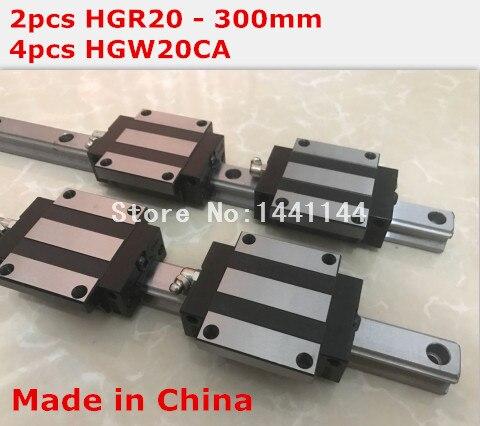 HG linear guide 2pcs HGR20 - 300mm + 4pcs HGW20CA linear block carriage CNC parts салфетки hi gear hg 5585