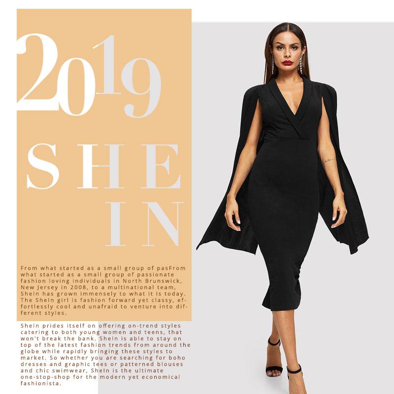 SHEIN Black Cape Sleeve Deep V Neck Shawl Surplice Collar Split Hem Pencil Bodycon Maxi Dress Women Spring Elegant Party Dresses 4