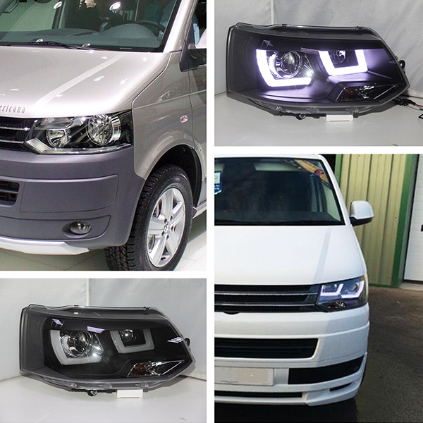 2011-2014 For Volkswagen  Transportation T5 Caravelle Multivan LED Headlight Black Housing JY t 2014