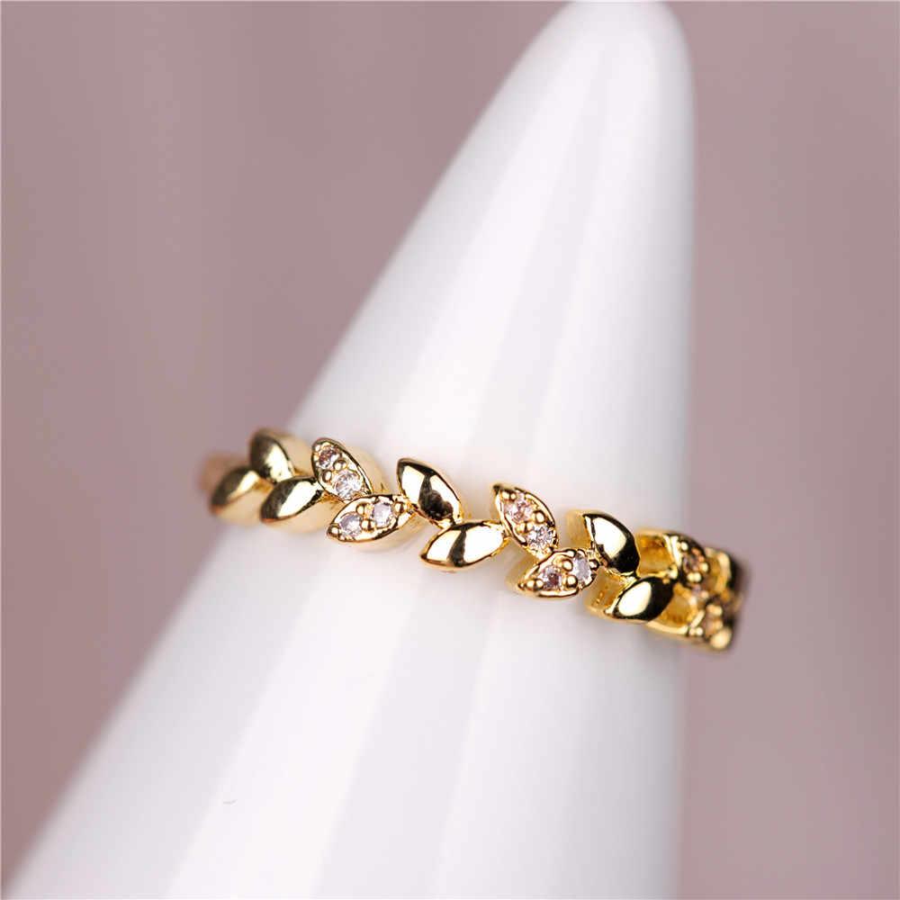 ใหม่แฟชั่น Inlay Zircon แหวนสาขาใบแหวนเพชรสำหรับผู้หญิงงานแต่งงานเครื่องประดับวันเกิดของขวัญขนาด 6-10