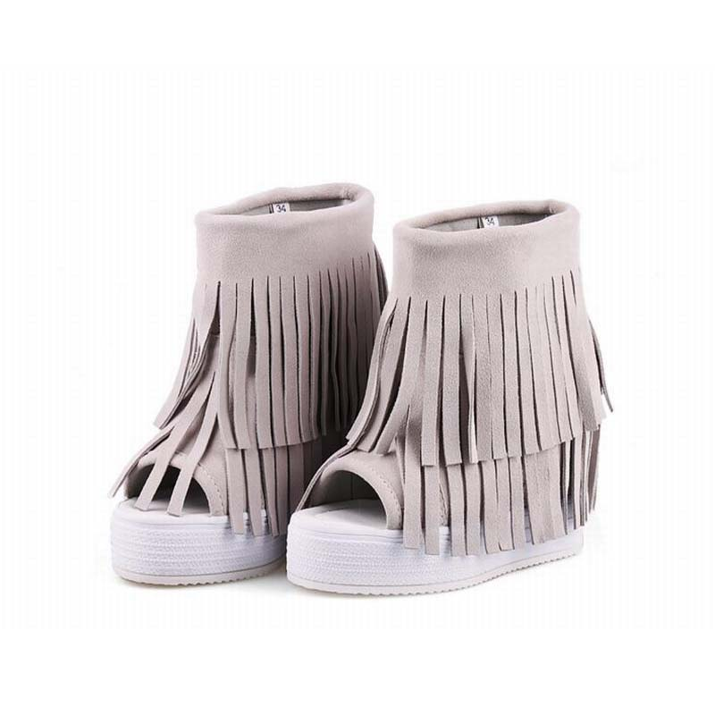 women's fashion open toe boots top quality cow suede fringe ankle boots casual height increasing tassel peep toe shoes booties