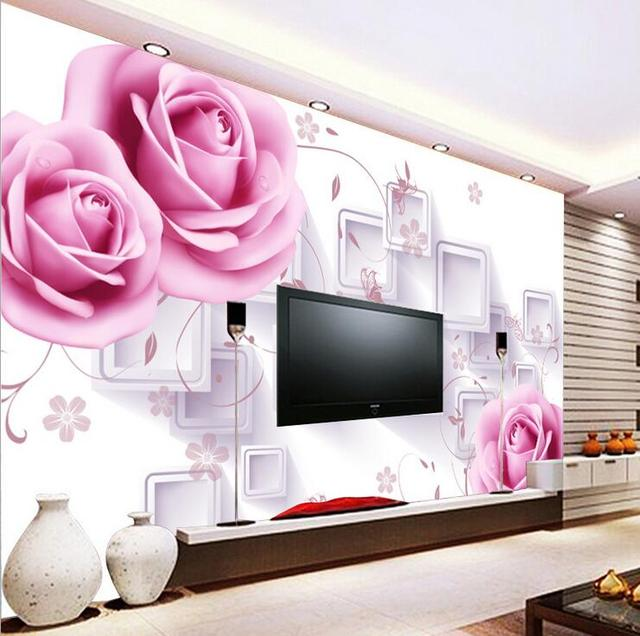 Modern Custom Mural 3D Rose Wallpapers , Flowers Wall Painting ...