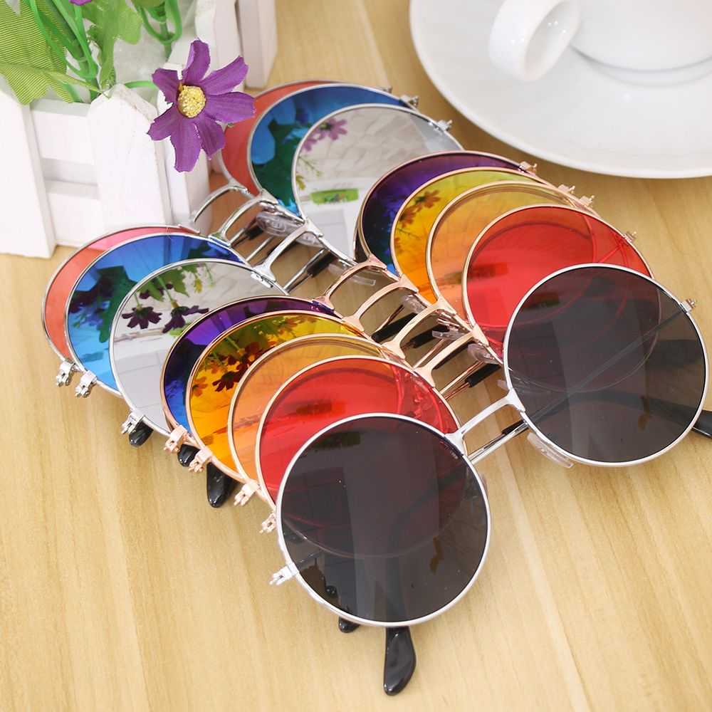 Women Fashion Retro Round Plastic Glasses Lens Sunglasses Eyewear Frame Glasses Brand Designer Sun Glasses Travel Accessories two tone frame round lens sunglasses