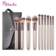Sinso 4/9/10pc Makeup Brushes Set Powder Foundation Eyeshadow Make Up Brushes Cosmetics Soft Synthetic Hair With PU Leather Case