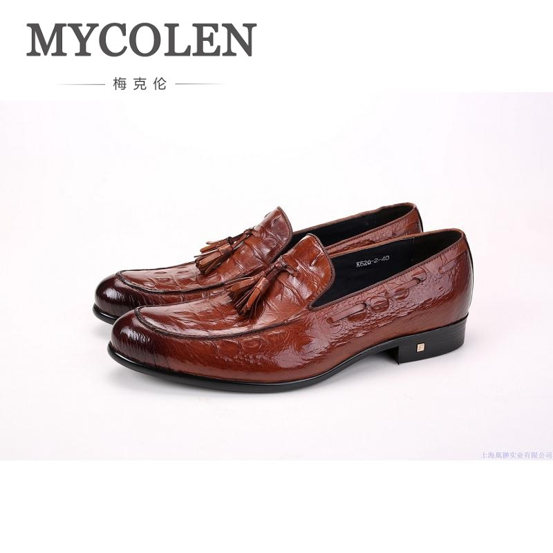 цена MYCOLEN High Quality Crocodile Skin Genuine Leather Mens Loafers Formal Wear Shoes For Suits Business Wedding Shoes Men онлайн в 2017 году