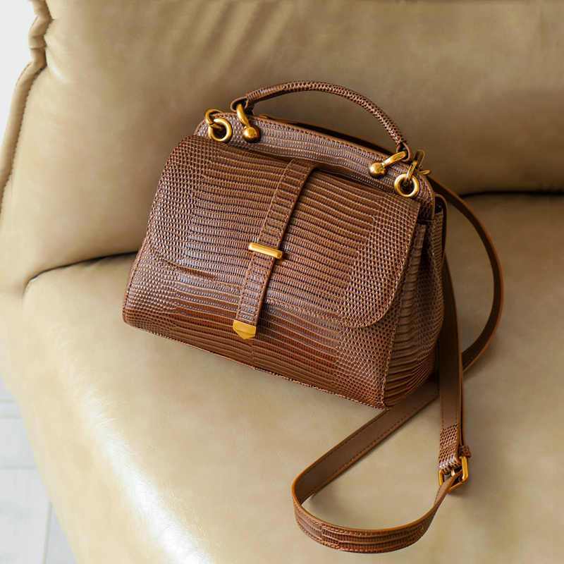 WOONAM Vrouwen Tas Top Verbergen Echt Leer in Alligator Hagedis Patroon Handvat Trapeze Satchel Cross-body Handtas WB761