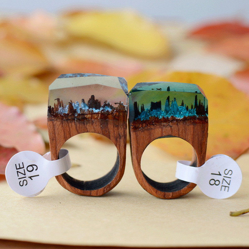 New Design Rose Blooming Secret Forest Wooden Miniature Worlds Inside Ring For Women Resin Finger