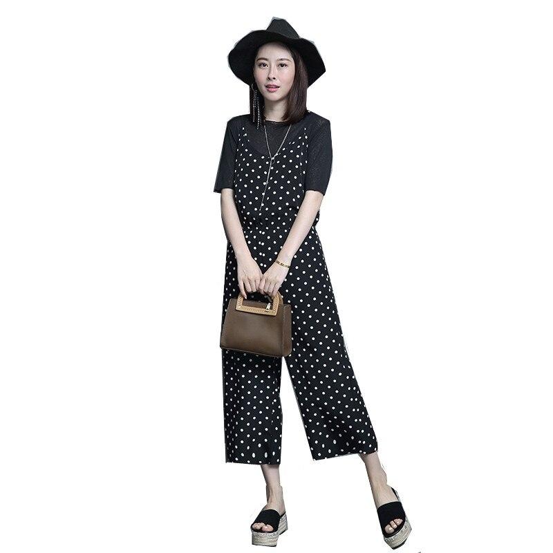 Pièces Europe Coton Shirt Pour 2018 Survêtement Mode Amérique Nouveau Pantalon De T Deux Dot Ensemble Sling Femmes Costume Black D'été Corps UxvYwvr6q5