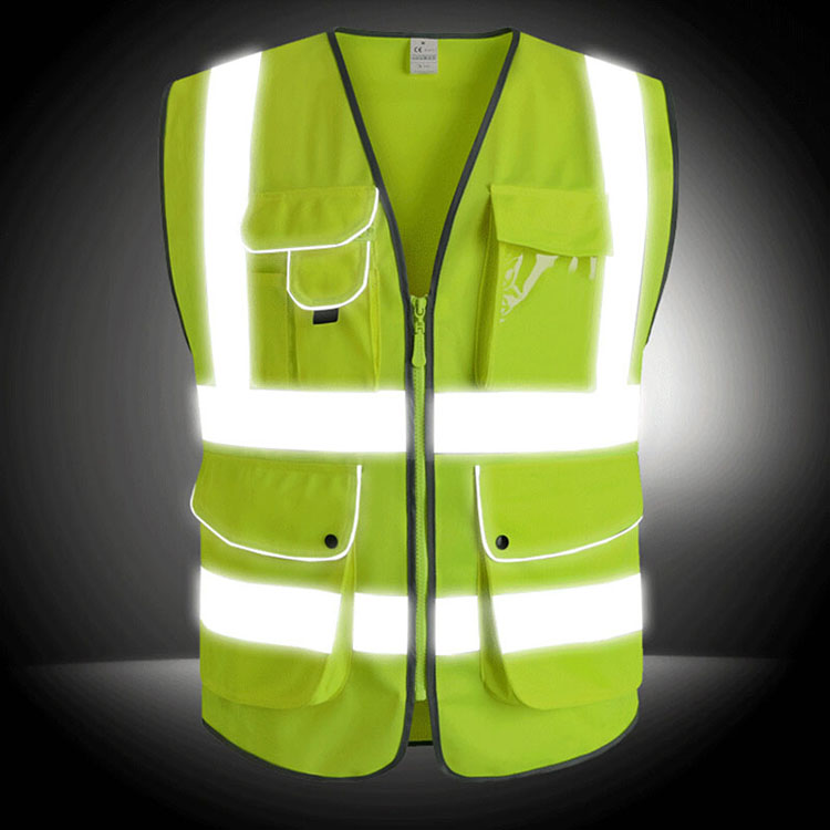 Reflective Vest High Visibility Safety Clothing Multi pockets Fluorescent Clothes For Outdoor Working Running Cycling Sport