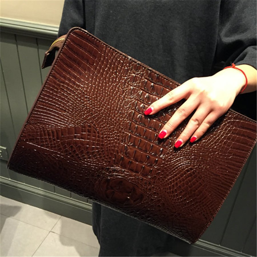 Fashion Crocodile Pattern Women's Bag Brand Design Envelope Day Clutch Bag PU Leather Big Purses and Handbags trendy women s clutch with envelope and twist lock design