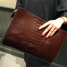 Fashion Crocodile Pattern Women's Bag Brand Design Envelope Day Clutch Bag PU Leather Big Purses and Handbags fashion women s clutch bag with pu leather and crocodile print design