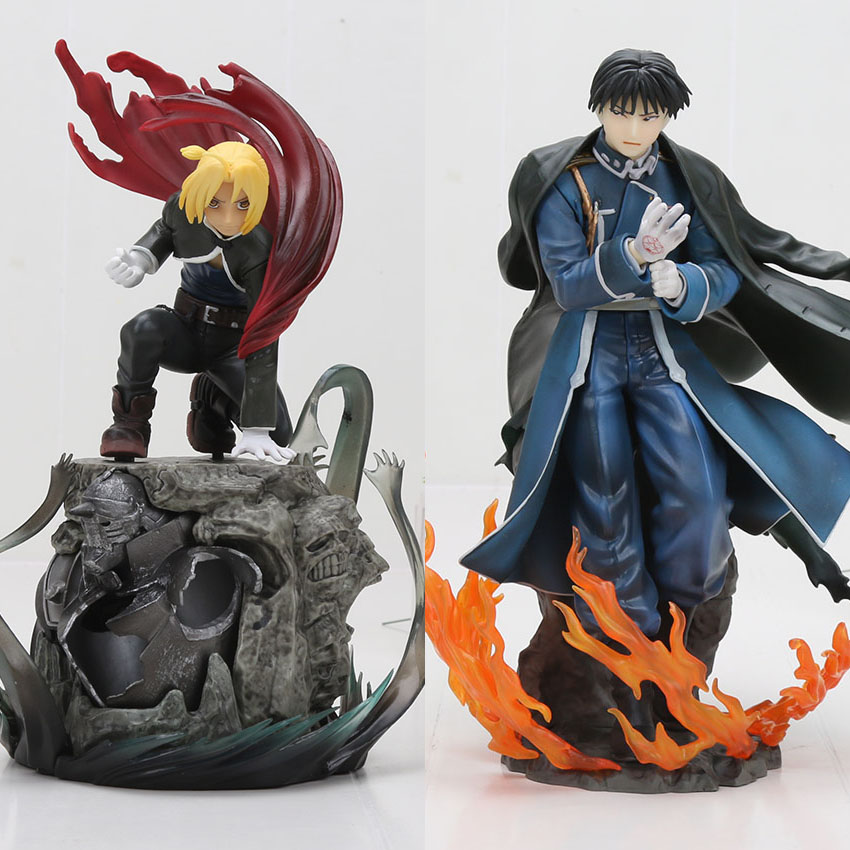 Anime Fullmetal Alchemist Edward Elric & Roy Mustang Japanese Action Statue Figure Collection Model Toys 16-22cm