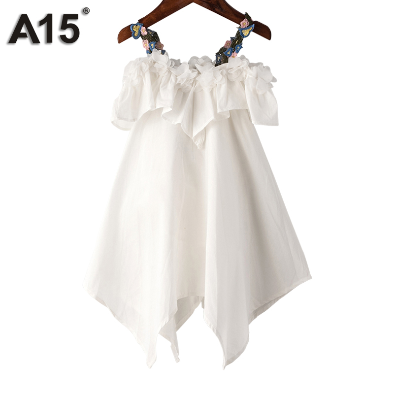 A15 Girls Dress Summer 2017 Casual Blue White Kids Dresses for Girls Off Shoulder Teenage Girl Clothing Children 8 10 12 14 Year купить