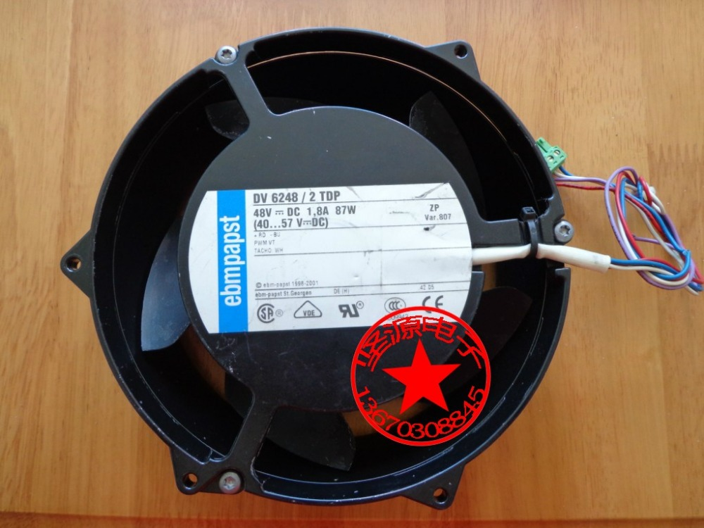 ebm-papst DV 6248/2TDP DV6248/2TDP Server Round Fan DC 48V 1.8A 170x170x50mm 4-wire ebm papst 4800z 4800 z ac 115v 0 16a 0 14a 13w 12w 120x120x38mm server square fan