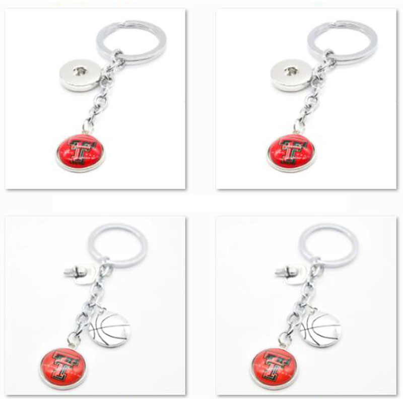2018 New Basketball Keychain Texas Tech Red Raiders Charm Key Chain Car Keyring for Women Men Party Birthday Keyrings Gifts image