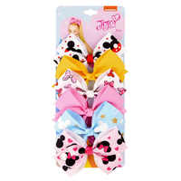"1 set 6pcs 5"" JoJo Clip Solid Print Minnie Mouse and Mermaid Bows With Clips For Girls Kids Hair Accessories Hairpins Barrette"