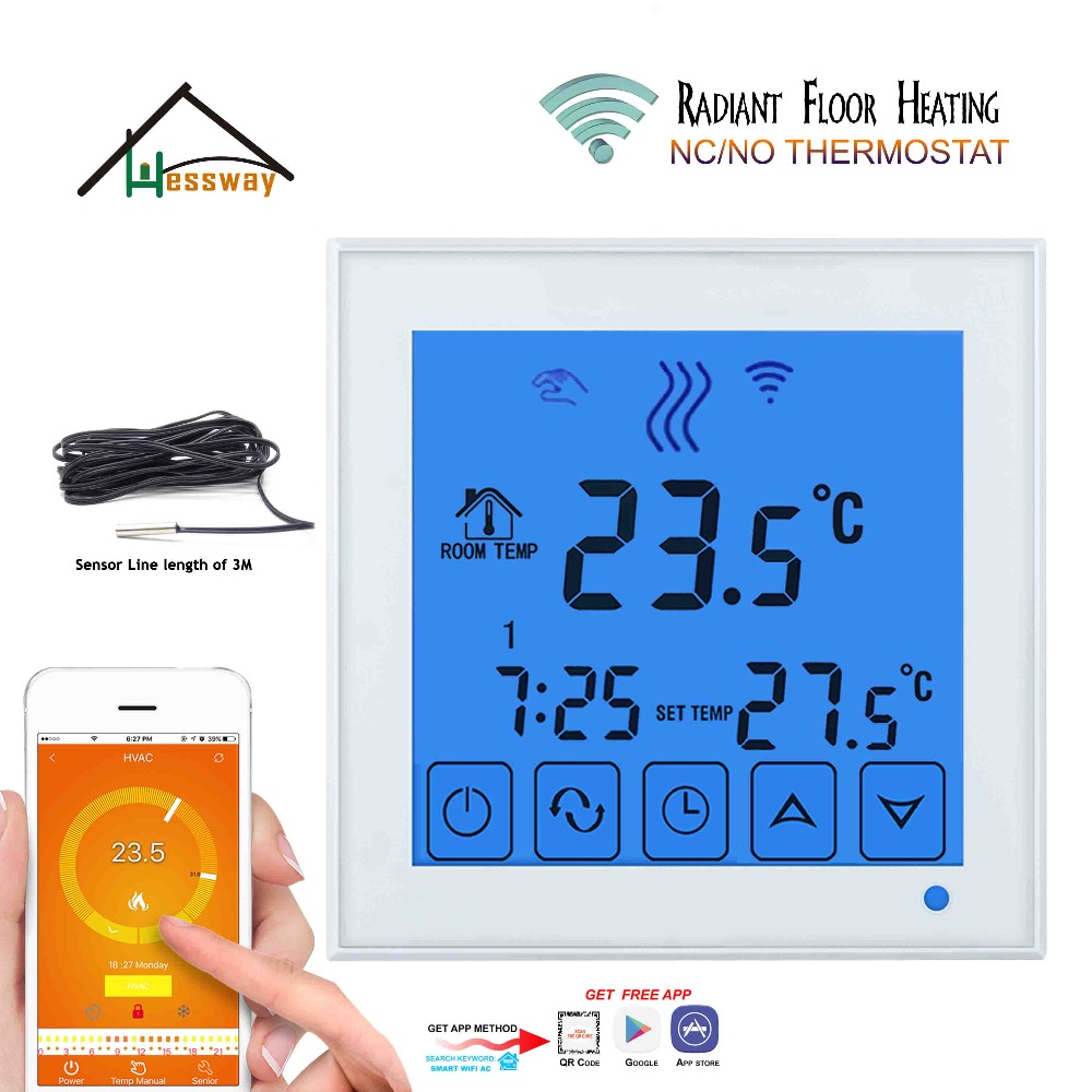 Android ISO APP 3A Temperature Control Wifi Thermostat Water Floor Heating For Mobile Sensor