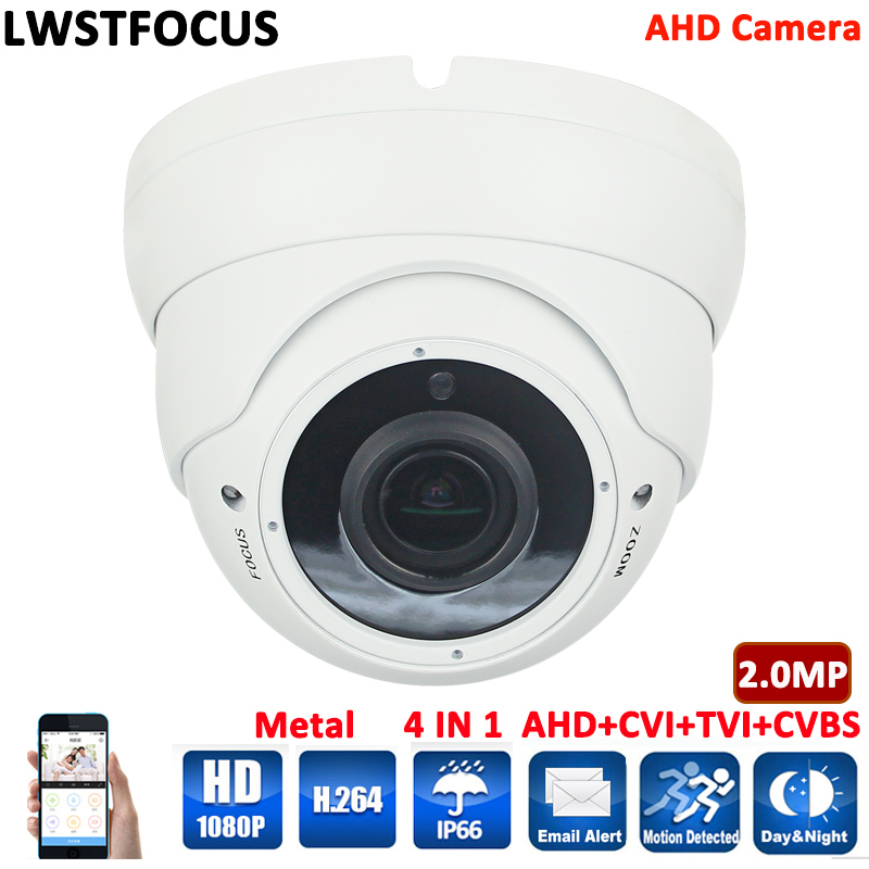 цена на HD 1080P CCTV AHD Camera 2MP Varifocal lens 2.8-12mm Security Surveillance Camera CMOS IR 30M Night Vision Dome Cam For AHD DVR