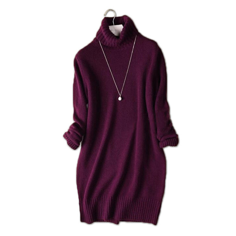 Haute qualité pure chèvre cachemire col roulé épais tricot femmes mode mi-long pull robe pull noir 6 couleur S-L