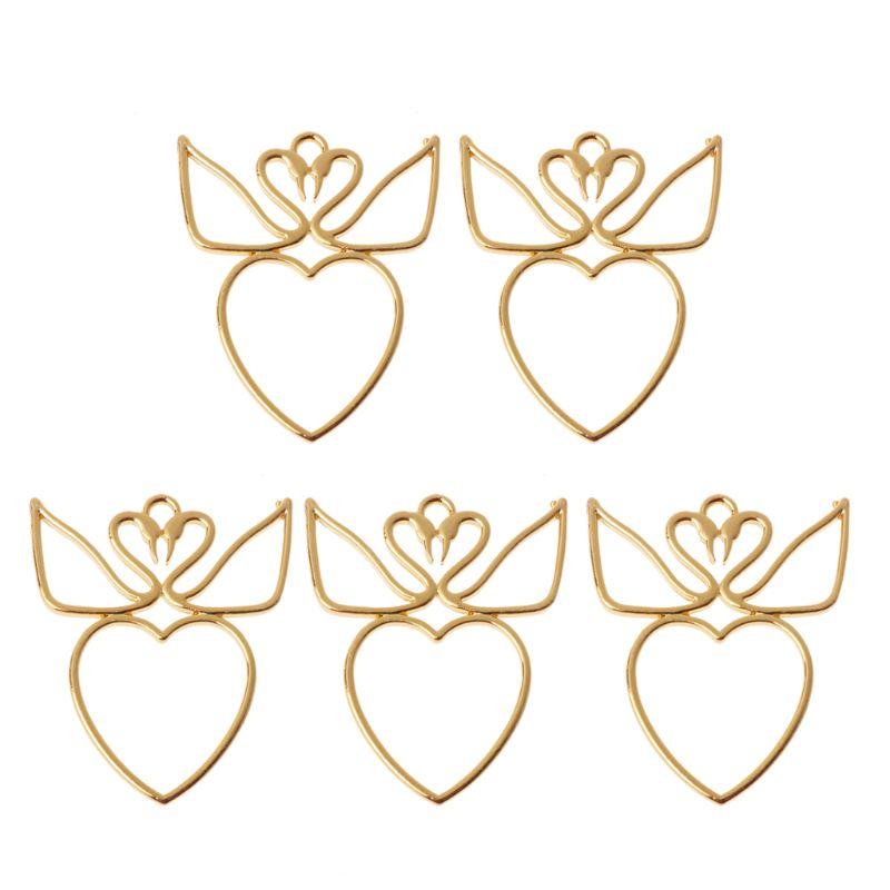 5 pièces Amateurs Cygnes Coeur Blanc UV Résine Cadres Pendentif Lunette Ouverte La Fabrication de Bijoux