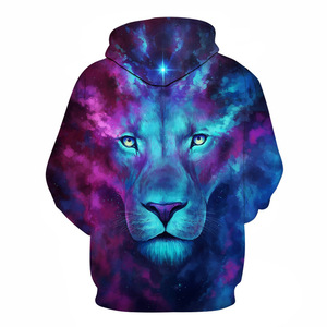Image 2 - 2019 Animal print hooded Sweatshirts Purple green yellow Lion head 3D Hoodie Female Male Autumn Pullover Xxxtentacion Tracksuit