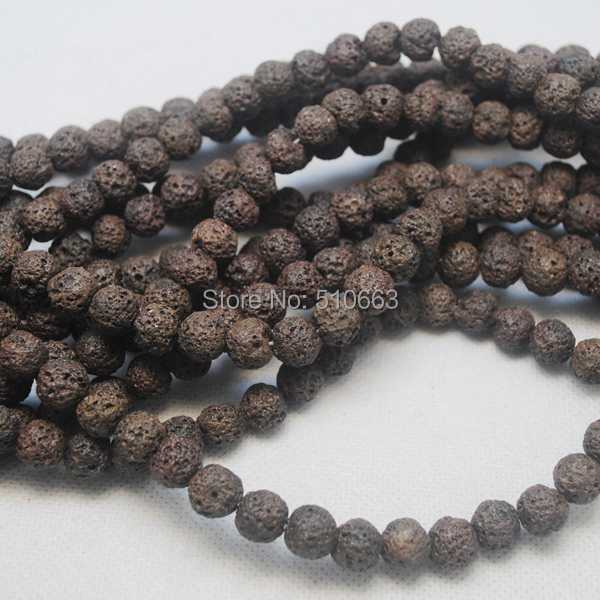 Wholesale 15.5 / 55pcs/Lot Nature brown color lava stone round ball volcano stone 8mm size bracelet beads accessories