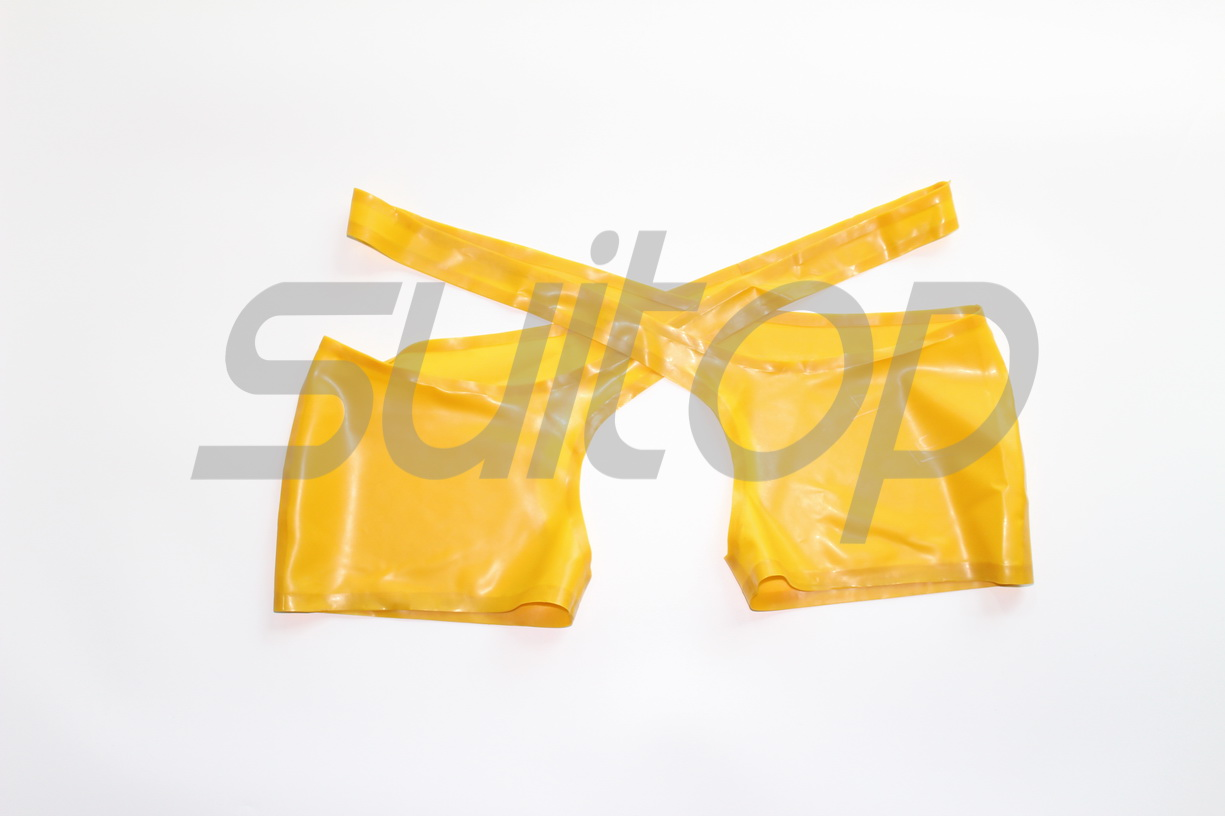 New Men's sexy latex shorts open cortch in trasparent yellow with lubes outside