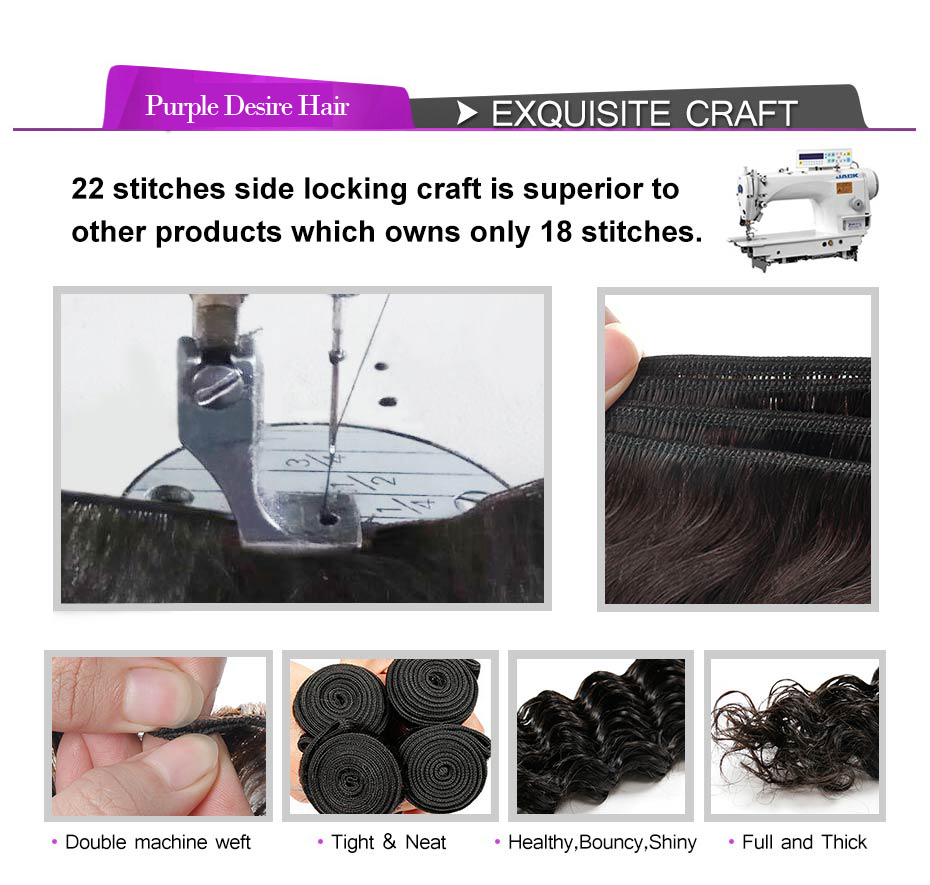 Deep Wave Bundles With Closure Brazilian Hair Weave 3 Bundles Human Hair with Closure Natural Color Non Remy Hair Extensions (2)