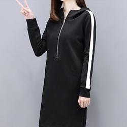Осень Для женщин комплект из двух предметов Толстовка с длинным рукавом и штаны Черный цвет; Большие размеры Для женщин комплекты Костюмы