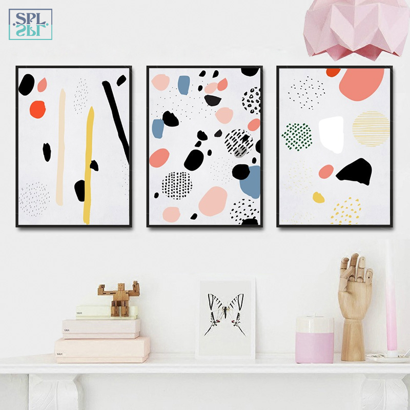 SPLSPL Abstract Geometric Canvas Paintings Posters Prints Wall Art Oil Pictures For Living Room Home Decoration Unframed Picture