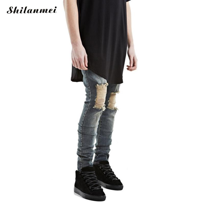 ФОТО 2017 nmd hip hop swag men jeans Ripped Jeans Summer Fashion Loose Ripped Denim Jeans For Men Plus Size Harem Jeans for Men