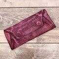 Projeto vintage longo carteira de couro Macio Saco de Mão bolsa de couro genuíno fêmea grande capacidade de multi titular do cartão carteira das mulheres