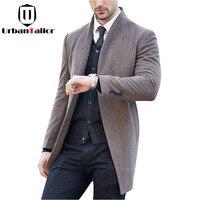 Sıcak Satış 2016 erkekler Gerçek Yün Ceketler Orta Uzun Kış Ceketler Erkek Yün Palto Erkek Sıcak Yün Siyah Palto