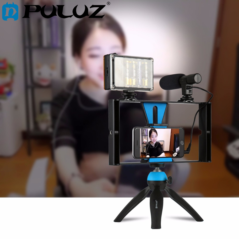 Vlogging PULUZ Dupla Handheld Gravação de Cinema Filme Caso Rig Estabilizador de Vídeo Pega Firme Rig para iPhone, Smartphones