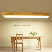 Nordic Pendant Lights Wood Lighting Fixtures with Acrylic Lampshade Office Bar Decorative Square Pendant Lamp Modern Hanglamp(China)