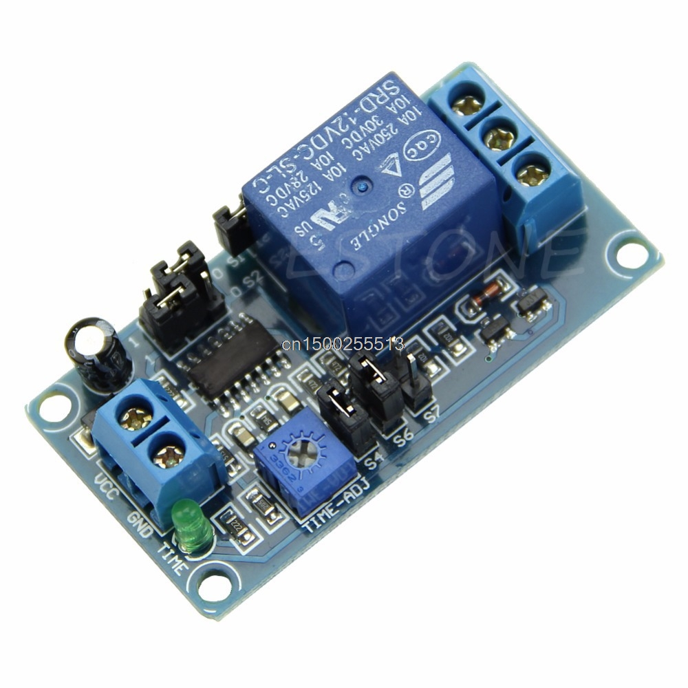 DC 12V Delay Timer Cycle Adjustment Control Switch Relay Module Digital display 1pc multifunction self lock relay dc 12v plc cycle timer module delay time relay