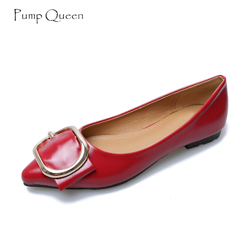 PumpQueen Women Flats Shoes 2018 New Pointed Toe Shoes for Woman Slip on Metal Decoration Footwear Zapatos Mujer Size 40 41 gold sliver shoes woman for 2016 new spring glitter bling pointed toe flats women shoes for summer size plus 35 40 xwd1841