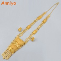 Anniyo Ethiopian Wedding Jewelry Set Gold Color & Copper Dubai Long Necklace/Earrings African Bride/Nigeria Style Gifts #100911