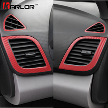 Air Condition Outlet Panel Carbon Fiber Protection Film Stickers Cover Decals Car Styling For Hyundai Solaris Verna Accessories