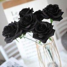 7 головок, искусственные цветы черной розы, букет для дома, свадебное украшение, Хэллоуин, Рождество, вечерние, украшение, один Шелковый цветок