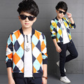 6 8 10 12 14 16 years Big Boys Outfits lattice Cotton Clothing Sets For Boys Sports Suits Spring Teenage Kids Tracksuits 2Pcs
