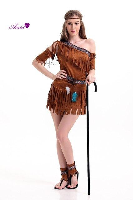 halloween costume ladies pocahontas native american indian west fancy dress sexy halloween party indian princess outfit - Halloween Native American