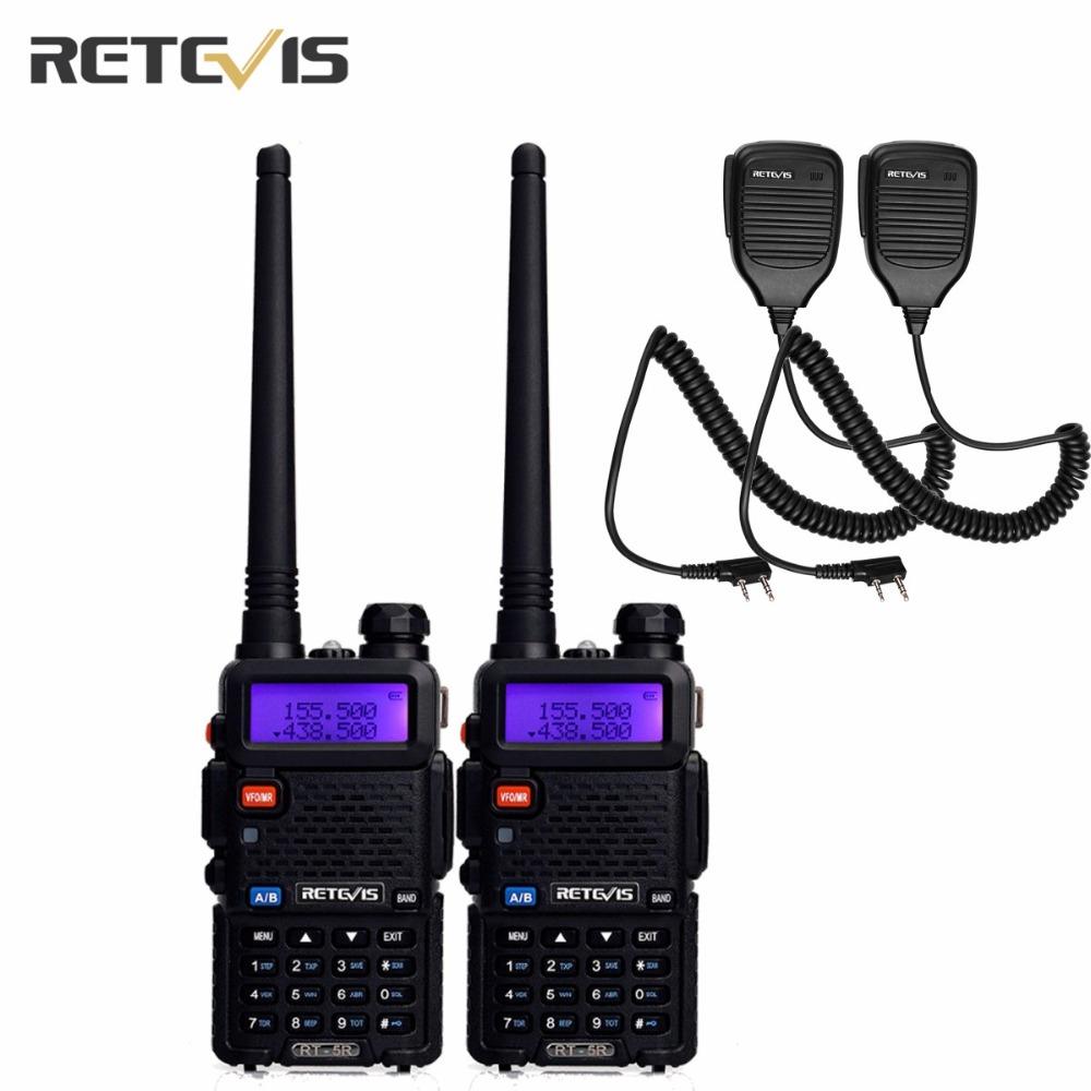 2Pcs Durable 5W Talkie Walkie Retevis RT-5R +2X Speaker Mic VHF/UHF Portable Radio Hf Transceiver Amateur Two Way Radio Moscow